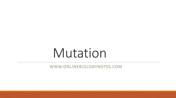 Mutation and types of mutation - Online Biology Notes
