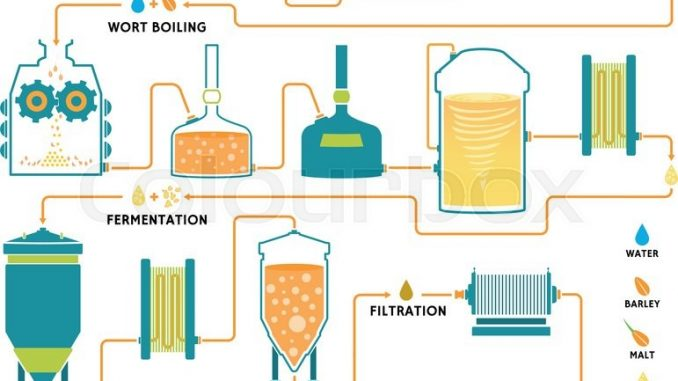 A schematic of the brewing process for the production of ...