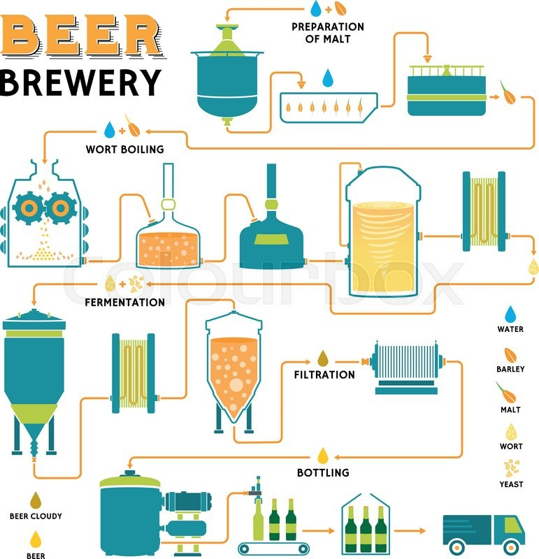 A schematic of the brewing process for the production of ...  |Beer Fermentation Process Diagram